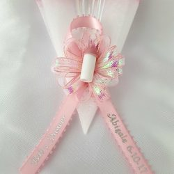 Baby Bottle on Iridescent Bow and Iridescent Edge Tulle Capia