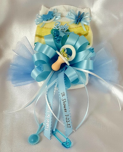 Diaper Corsage-Baby with Rattle on Lace #2