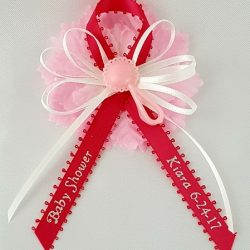 Rattle on Satin Bow with Carnation Capia