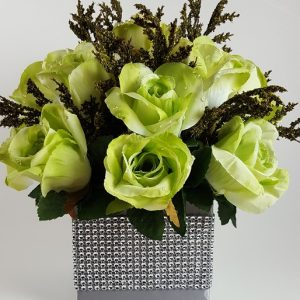 Apple Green Roses with Green Spray Centerpiece