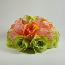 Apple Green and Peach Roses Cake Topper
