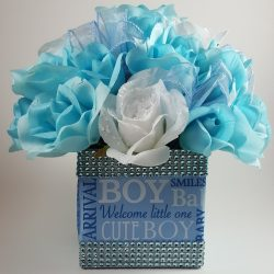 Blue and White Roses - It's a Boy Centerpiece