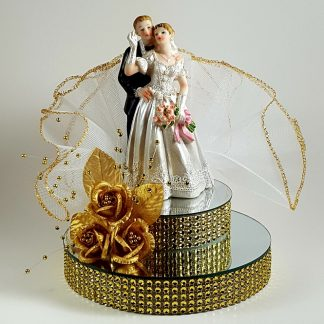 Bride and Groom on Mirror Cake Topper - Gold