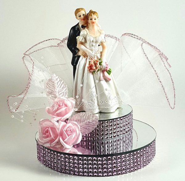 Bride and Groom on Mirror Cake Topper - Pink