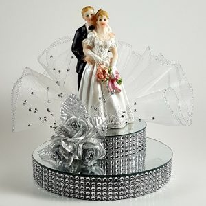 Bride and Groom on Mirror Cake Topper - Silver