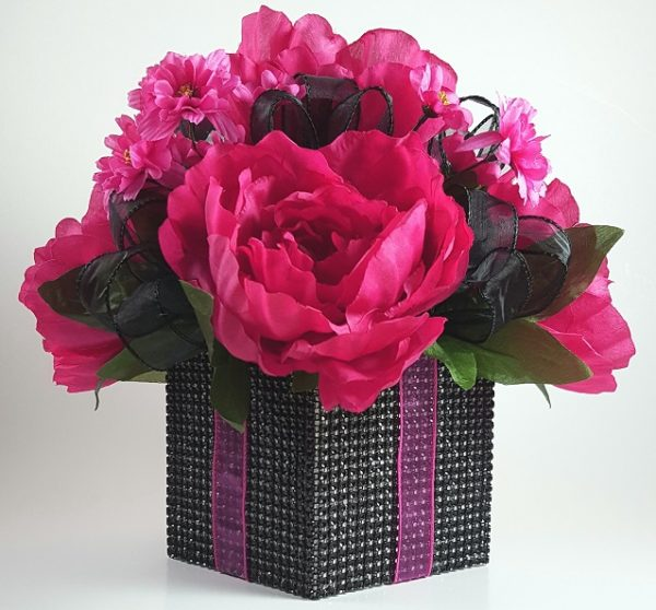 Fuchsia Peony and Black Ribbon Centerpiece