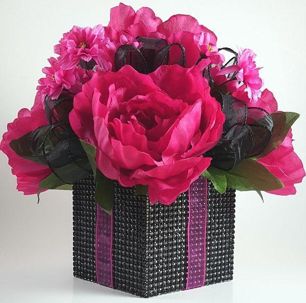 Fuchsia Peony and Black Ribbon Centerpiece