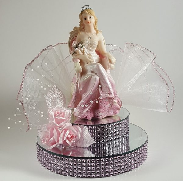 Girl Sitting on Chair Cake Topper - Pink