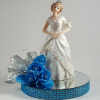 Girl on Mirror Cake Topper - Turquoise