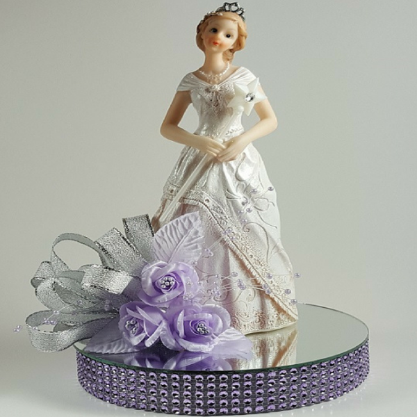 Girl on Mirror Cake Topper - Lilac