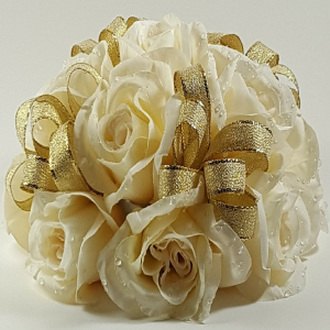 Ivory Roses with Gold Ribbon Cake Topper