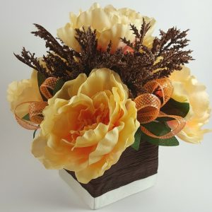 Peach Peony with Brown Spray Centerpiece