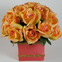 Peach Roses with Salmon Pink Center Centerpiece