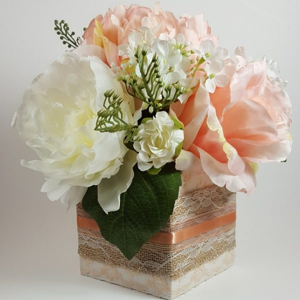 Peach and White Rose, Peony and Dahlia Centerpiece