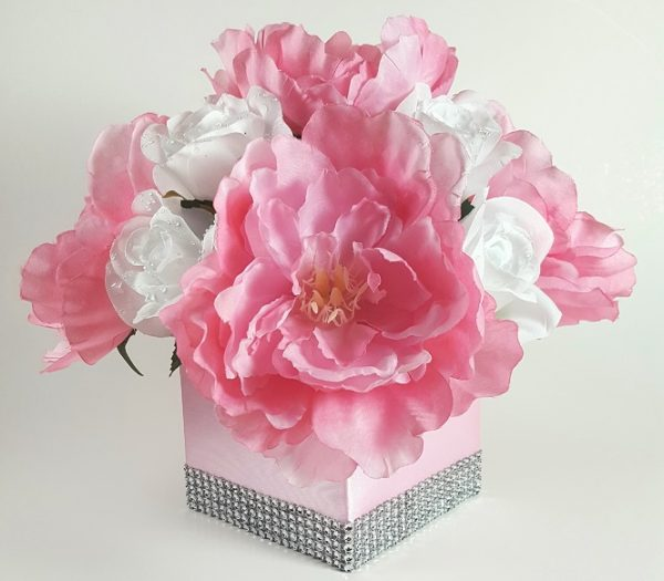 Pink Peony with White Roses Centerpiece
