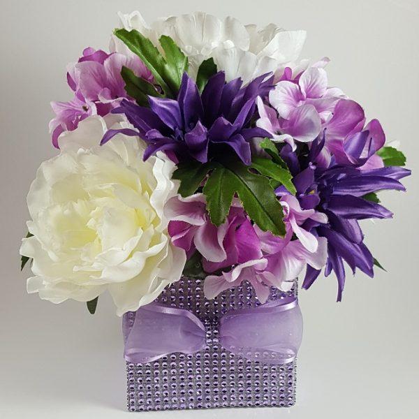 Purple Daisy and Hydrangea Centerpiece