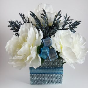 White Peony with Blue Spray Centerpiece