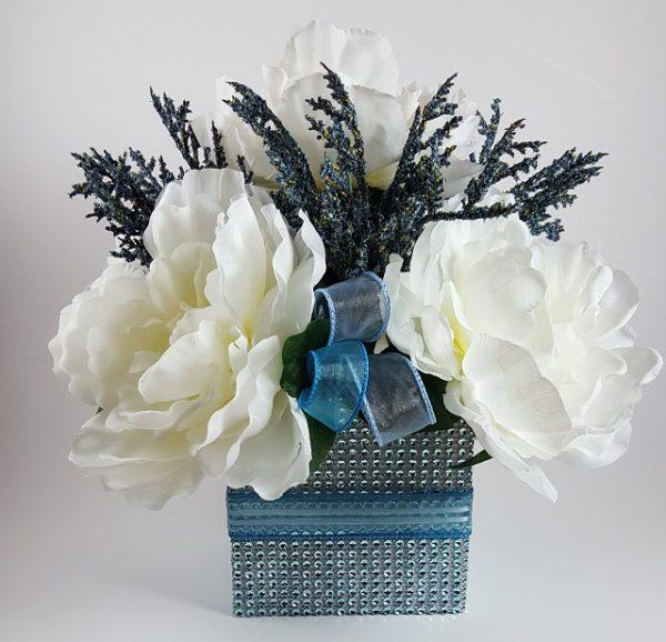 White Peony with Blue Spray Centerpiece