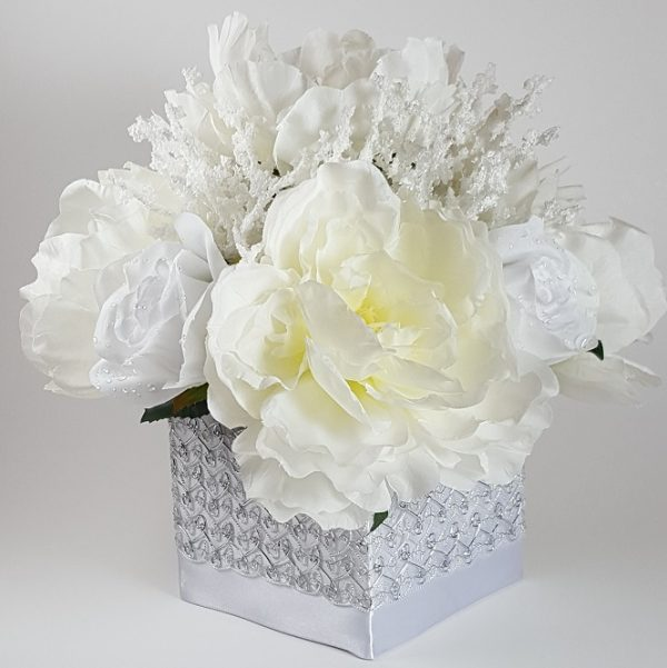 White Peony with Heather Cluster Centerpiece