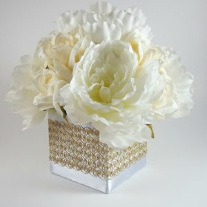White Peony with Ivory Roses Centerpiece