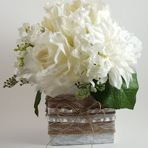 White Rose, Peony and Dahlia Centerpiece