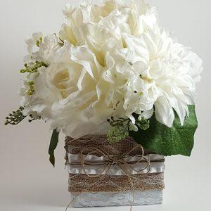 White Rose, Peony and Dahlia Centerpiece