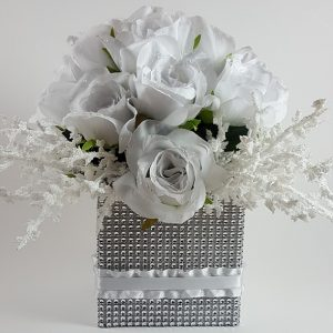 White Roses with Heather Cluster Centerpiece