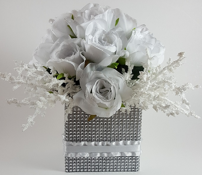 White roses with heather cluster centerpiece r r party store white roses with heather cluster centerpiece mightylinksfo