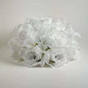 White Roses with White Ribbon Cake Topper