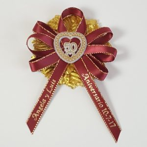 # 50 on Satin Ribbon with Gold Carnation Capia