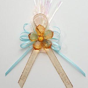 Acrylic Flower on Satin Bow with Flex and Leaf Capia