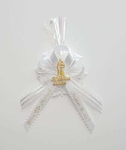 Bride and Groom on Fancy Ribbon with Flex and Carnation Capia