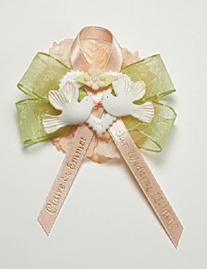 Kissing Doves on Sheer Bow with Carnation Capia