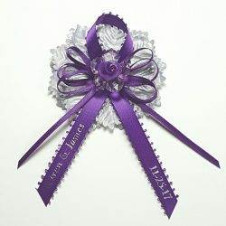 Small Acrylic Flower on Satin Bow with Silver Carnation Capia