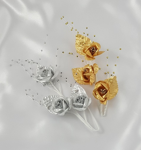 Gold or Silver Satin Rose with Pearls