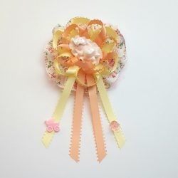 Sleeping Baby Girl on Flower Ribbon - Baby Shower Corsage