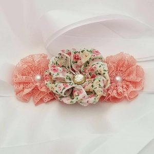 Vintage Blush Flower Ribbon Belly Sash