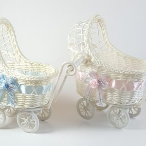 Wicker Baby Carriage - Baby Shower Centerpiece