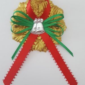 Christmas Capia - Silver Bells on Satin Bow with Gold Carnation