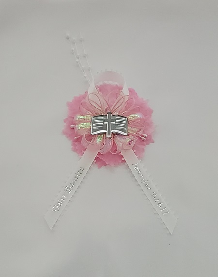 Bible on Iridescent Bow with Pearls on Carnation Capia