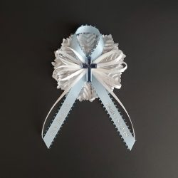 Cross on Satin Bow with Silver Carnation Capia